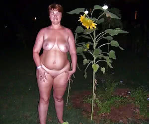 Fat nudist girls continue to be nude after a night comes
