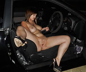 Young girls drive somewhere nude in a night time