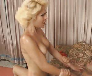 Sweet blonde ladyboy doing nasty things with her boyfriend