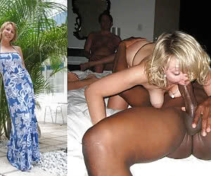 Blonde swinger on big black dick